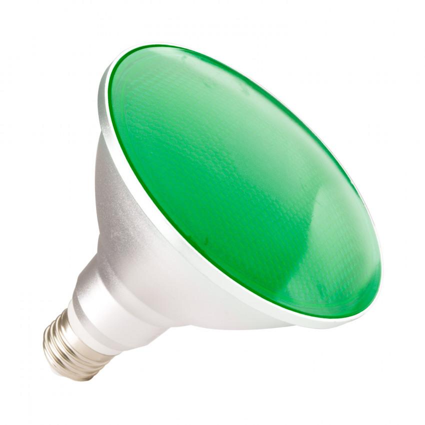 Lámpara LED E27 PAR38 15W IP65 Luz Verde