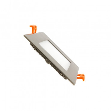 Placa LED Quadrada SuperSlim 6W Moldura Prata