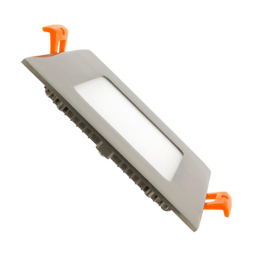 Placa LED Quadrada SuperSlim 6W Moldura Prata