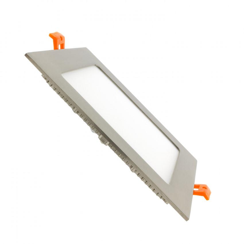 Placa LED Quadrada SuperSlim 12W Moldura Prata