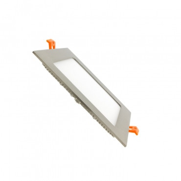Placa LED Quadrada SuperSlim 12W Moldura Prata