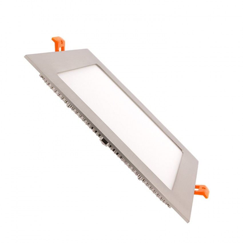 Placa LED Quadrada SuperSlim 15W Prata Corte 180x180 mm