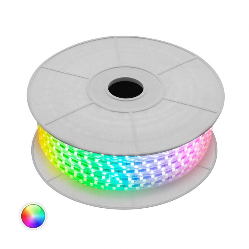 Bobina de Tira LED RGB Regulable 220V AC 60 LED/m 50m IP65 Corte cada 100 cm