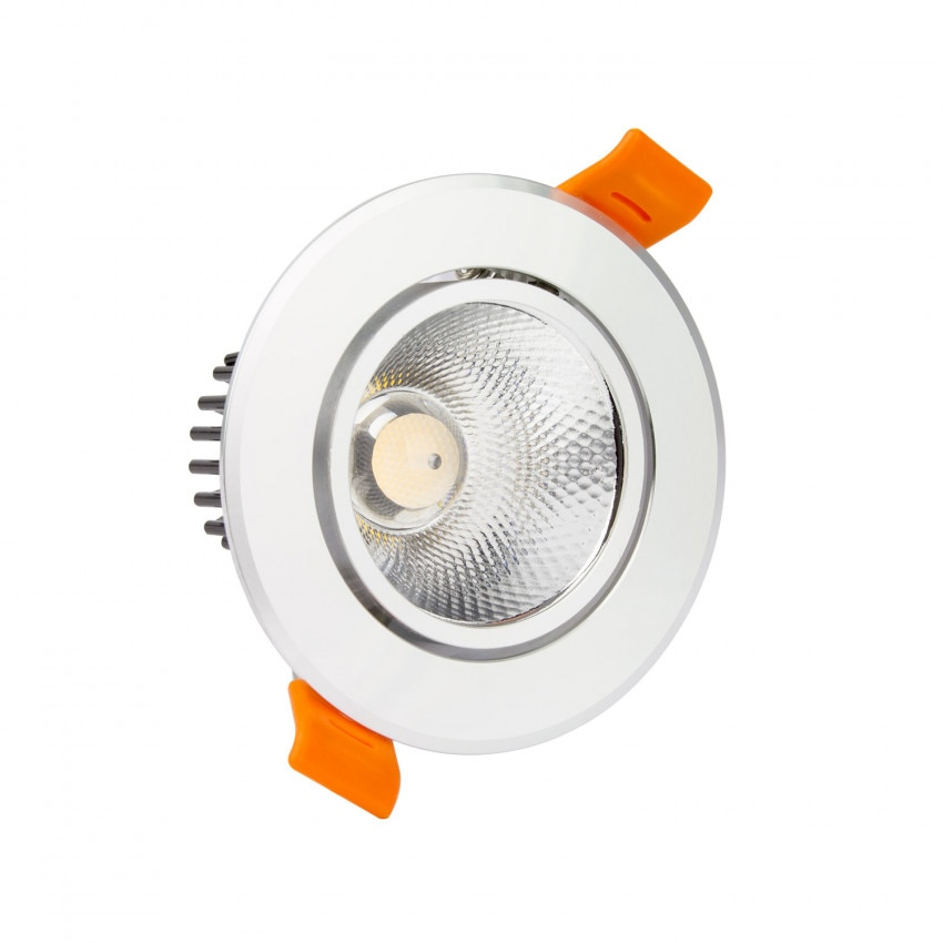 Foco Downlight LED 7W COB Direccionable Circular (UGR19) Plata Corte Ø 70 mm