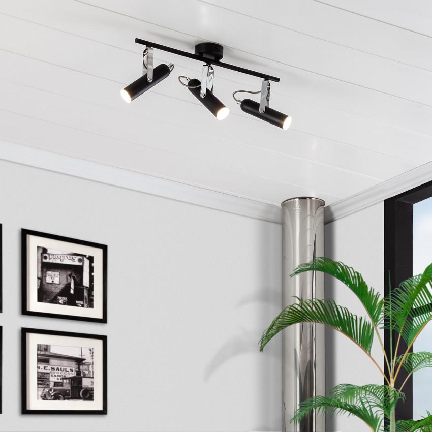 Lámpara LED de Techo Orientable Bari 3 Focos 12W Negro