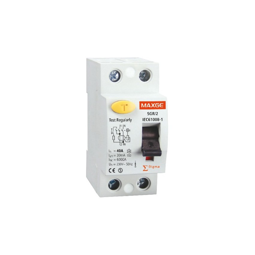 Interruptor Diferencial Industrial MAXGE 2P-30mA-Classe A-10kA Super-Imunizado
