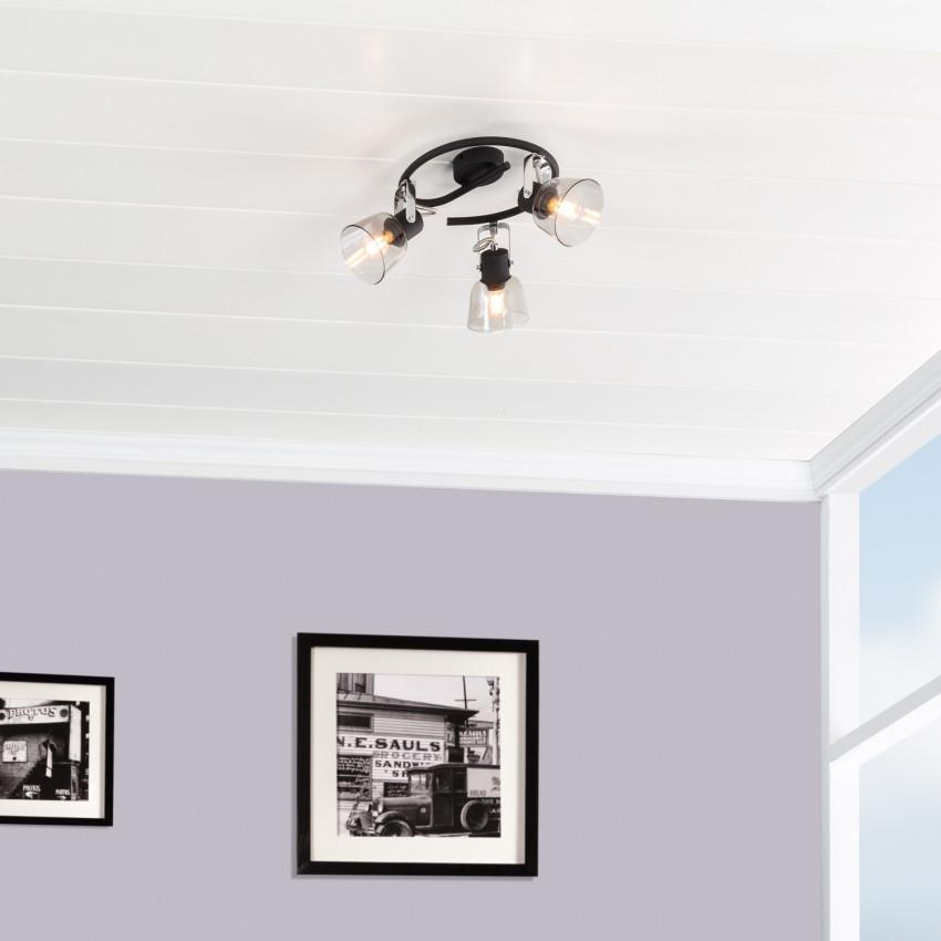 Lámpara de Techo Espiral Orientable Tivo 3 Focos Negro