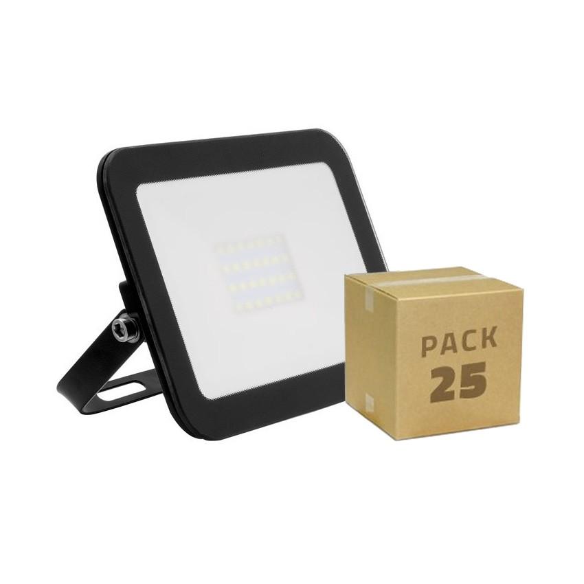 Pack Foco LED Slim Cristal 20W Negro (25x5.99€)