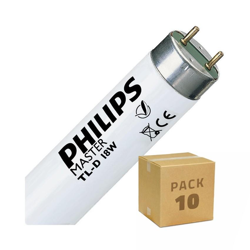 Pack Tubo Fluorescente Regulable PHILIPS T8 600mm Conexión dos Laterales 18W (10 un)