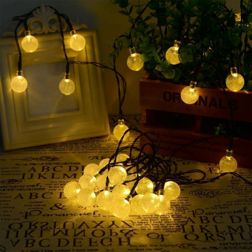 Grinalda 30 Bolas LED com Carregador Solar
