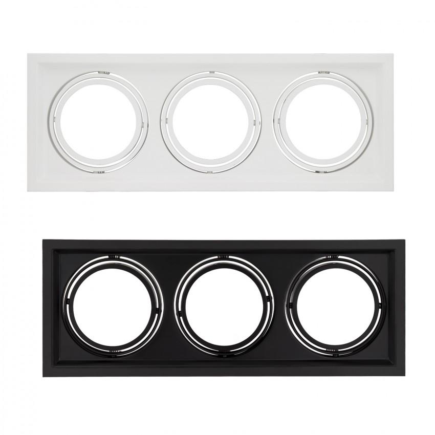 Aro Downlight Quadrado Basculante para três Lâmpadas LED AR111