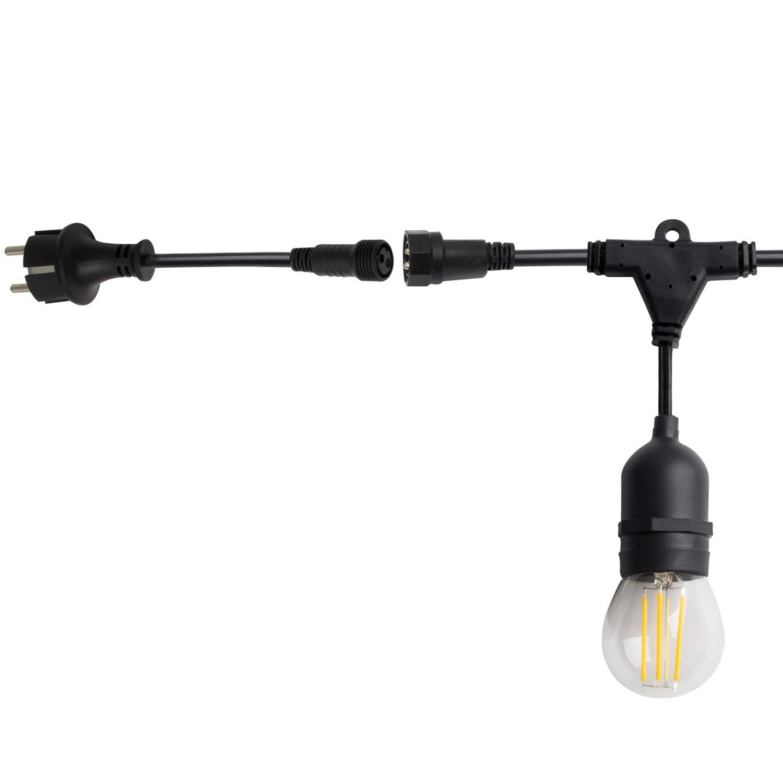 Guirnalda Waterproof IP65 con 8 Portalámparas E27 5.5m Negro