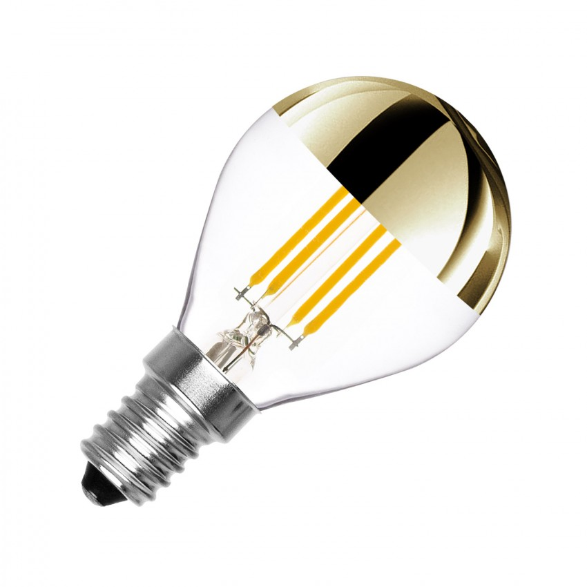 Bombilla LED E14 Regulable Filamento Gold Reflect G45 4W