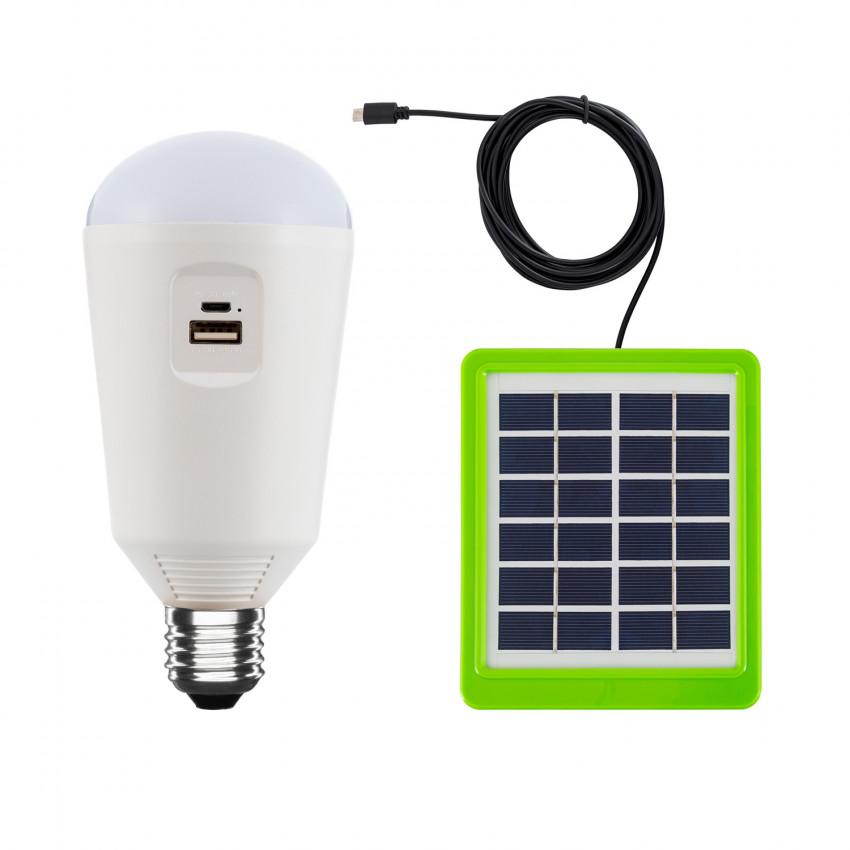 Lâmpada LED E27 Portátil com Carregador Solar 7W