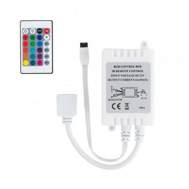Controlador Tira LED RGB 12V, Dimmer por Control Remoto IR 24 Botones