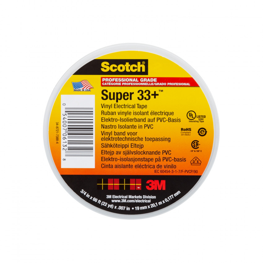 Cinta Eléctrica de Vinilo Scotch Super 33+ 3M 19mm x 20m