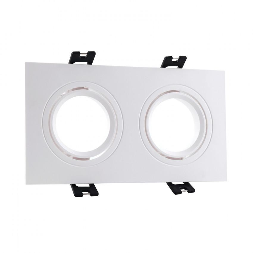 Aro Downlight Quadrado Basculante PC para duas Lâmpadas LED GU10 / GU5.3