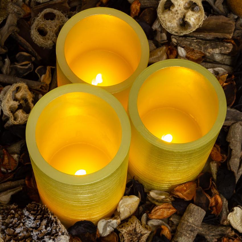 Pack de 3 Velas LED Cera Natural Special Flame Dorado