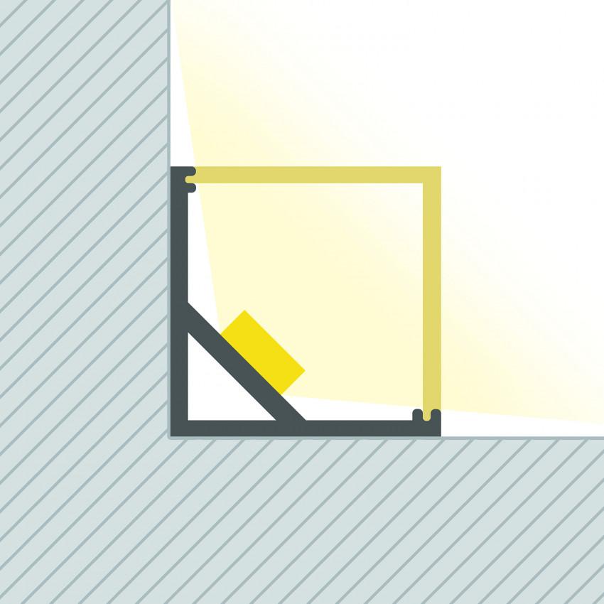 Perfil de Aluminio Esquina Triangular 1m para Tira LED hasta 10mm