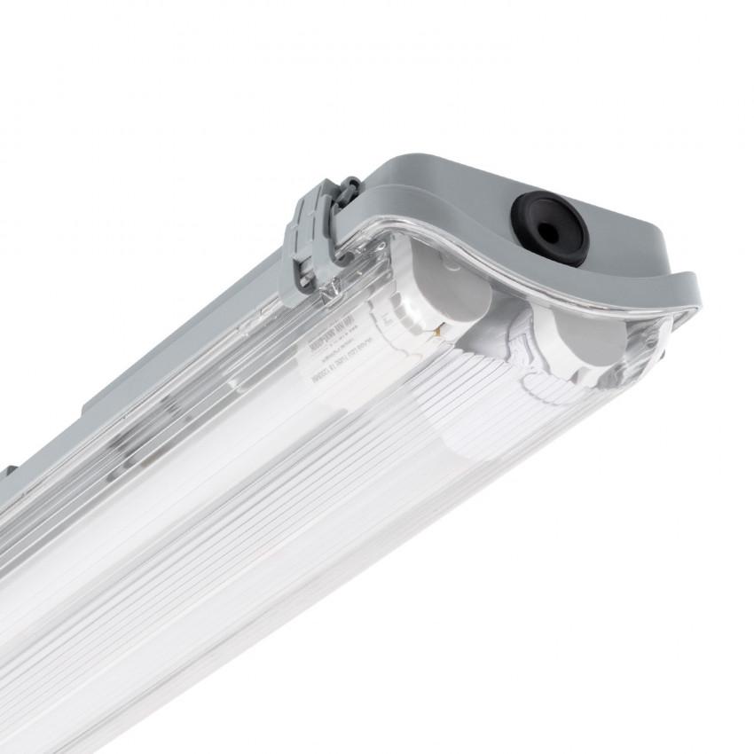 Kit Armadura Hermética Slim com dois Tubos LED 1500mm Conexão Uni-Lateral