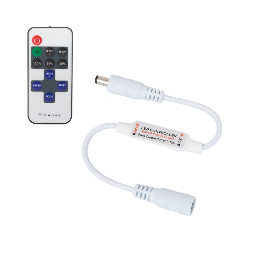 Mini Controlador Fita LED Monocor 12V, Dimmer por Controle Remoto RF 10 Botões
