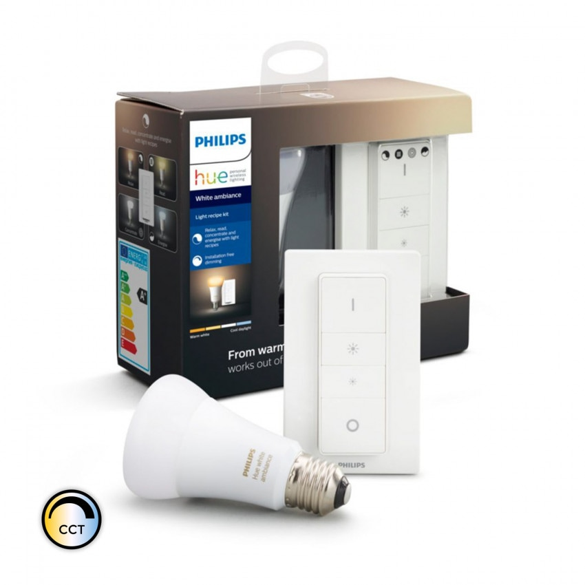 Kit Interruptor + Bombilla LED E27 CCT PHILIPS Hue White Ambiance 8,5W