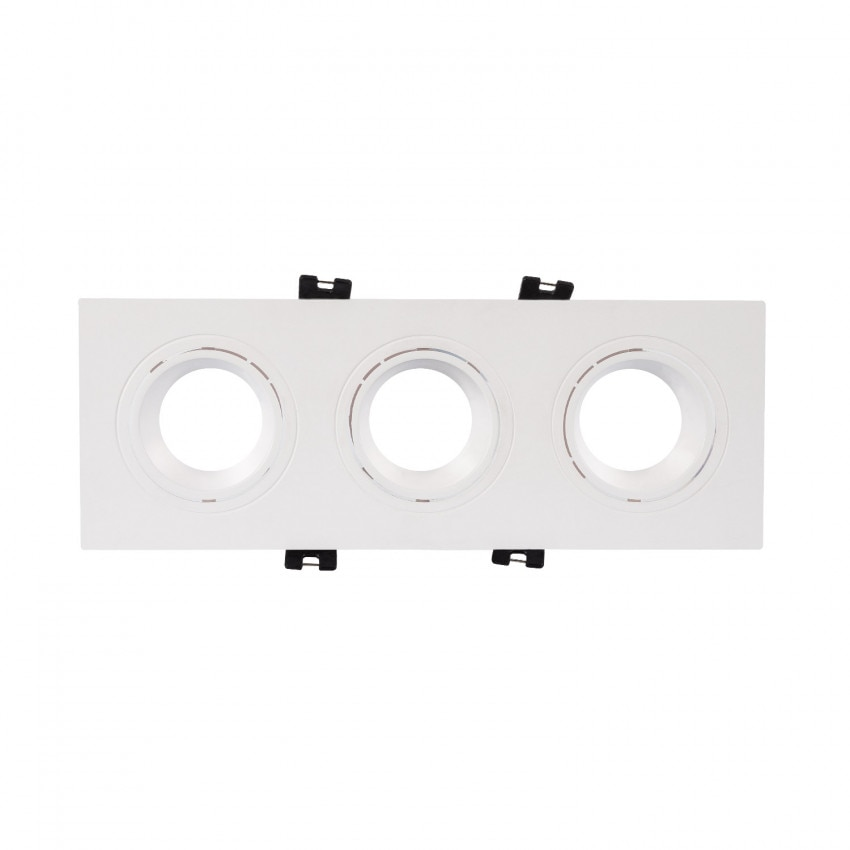 Aro Downlight Cuadrado Basculante PC para tres Bombillas LED GU10 / GU5.3