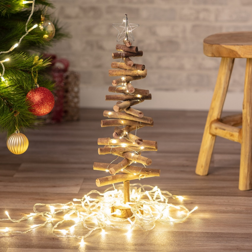 Árbol de Navidad de Madera con Luces LED