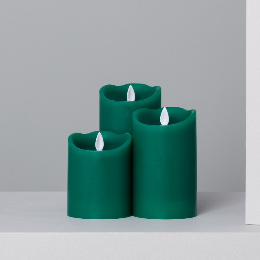 Pack de 3 Velas LED Cera Natural Special Flame Verde