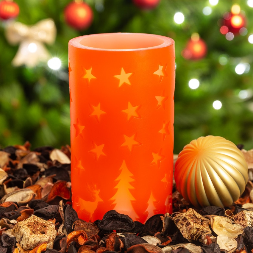 Vela LED Cera Natural Natal Vermelho