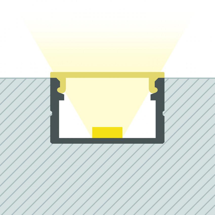 Perfil de Alumínio de Superfície com Cobertura Contínua para Fitas até 16 mm