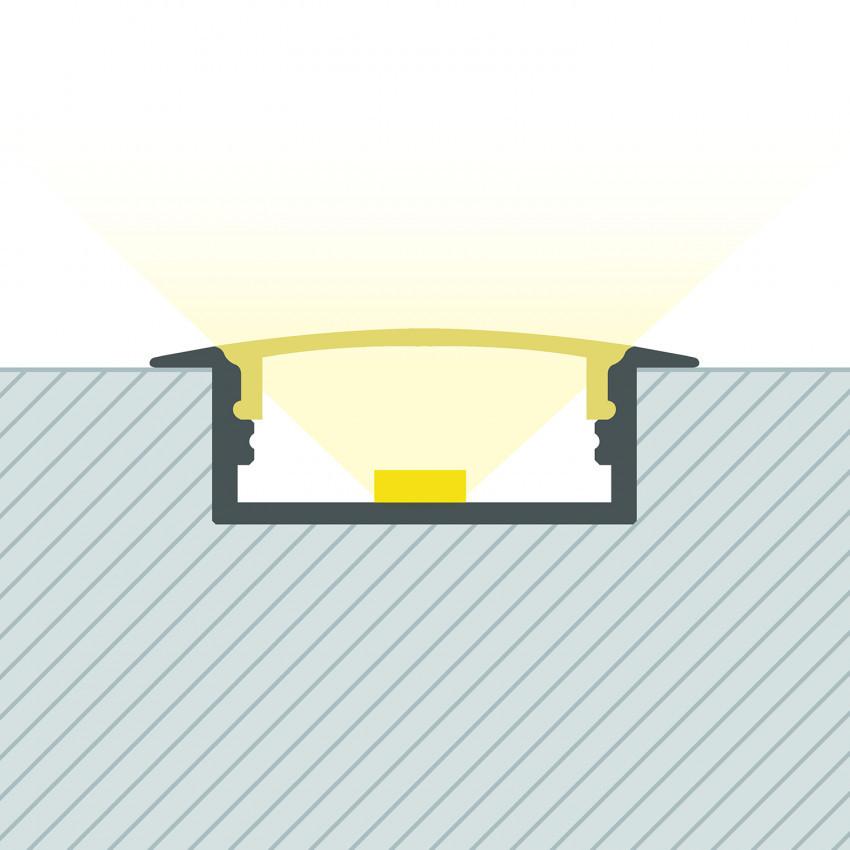 Perfil de Aluminio Empotrable con Tapa Continua para Doble Tira LED hasta 18 mm