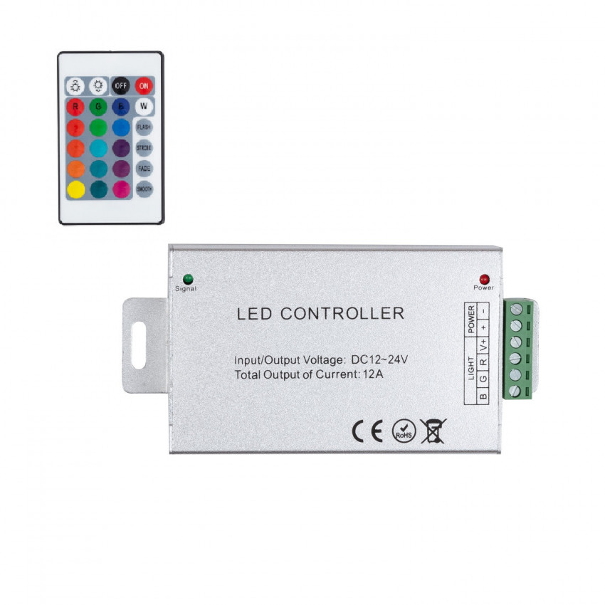 Controlador Regulador Tira LED RGB 12/24V DC con Mando IR High Power