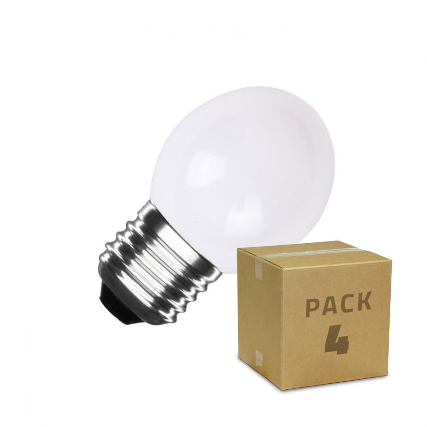 Caja de 4 Bombillas LED E27 G45 3W Blancas