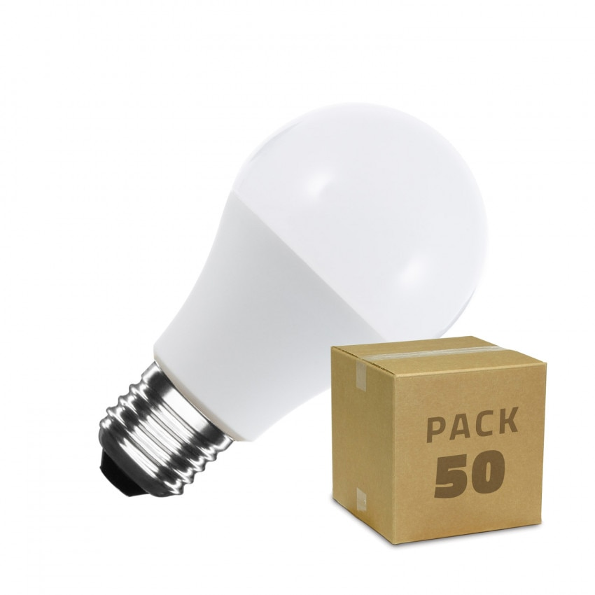 Caja de 50 Bombillas LED E27 A60 5W Blanco Cálido