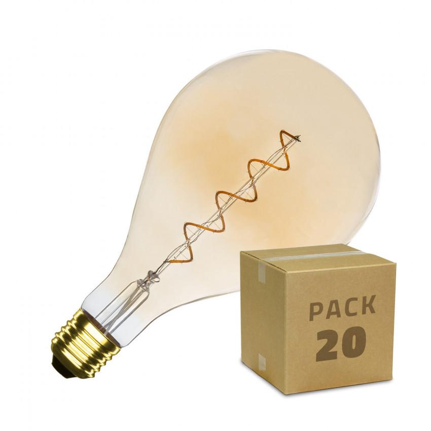 Caja de 20 Bombillas LED E27 Regulable Filamento Espiral Gold PS165 4W Blanco Cálido