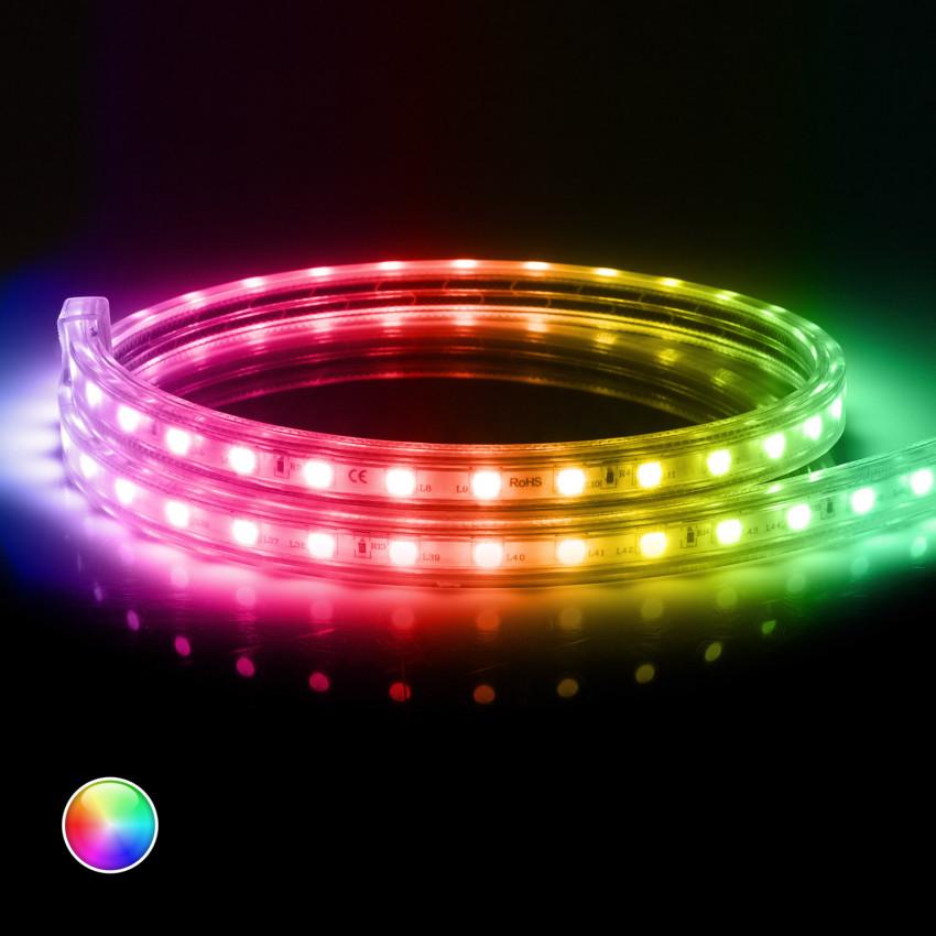 Fita LED RGB com Controlo Remoto IR 220V AC 60 LED/m IP65 à medida Corte a cada 100 cm