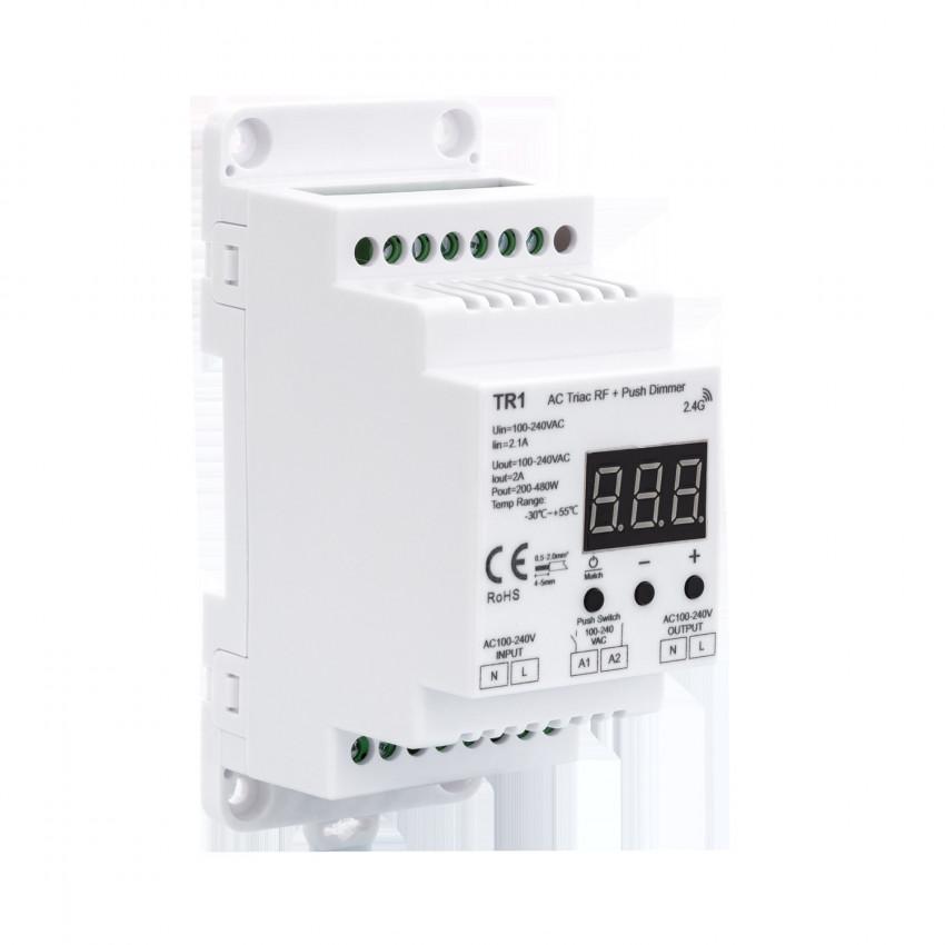 Regulador Universal LED Triac RF/Pulsador para Carril DIN
