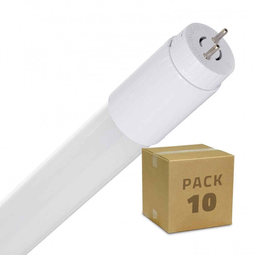 Pack Tubos LED T8 de Vidro 600mm Conexão Uni-Lateral 9W 110lm/W (10 un)