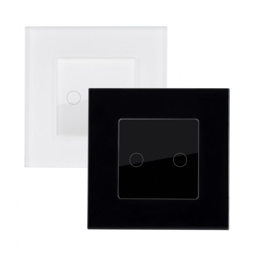 Interruptor Táctil Doble Comutado com Moldura de Vidro Modern