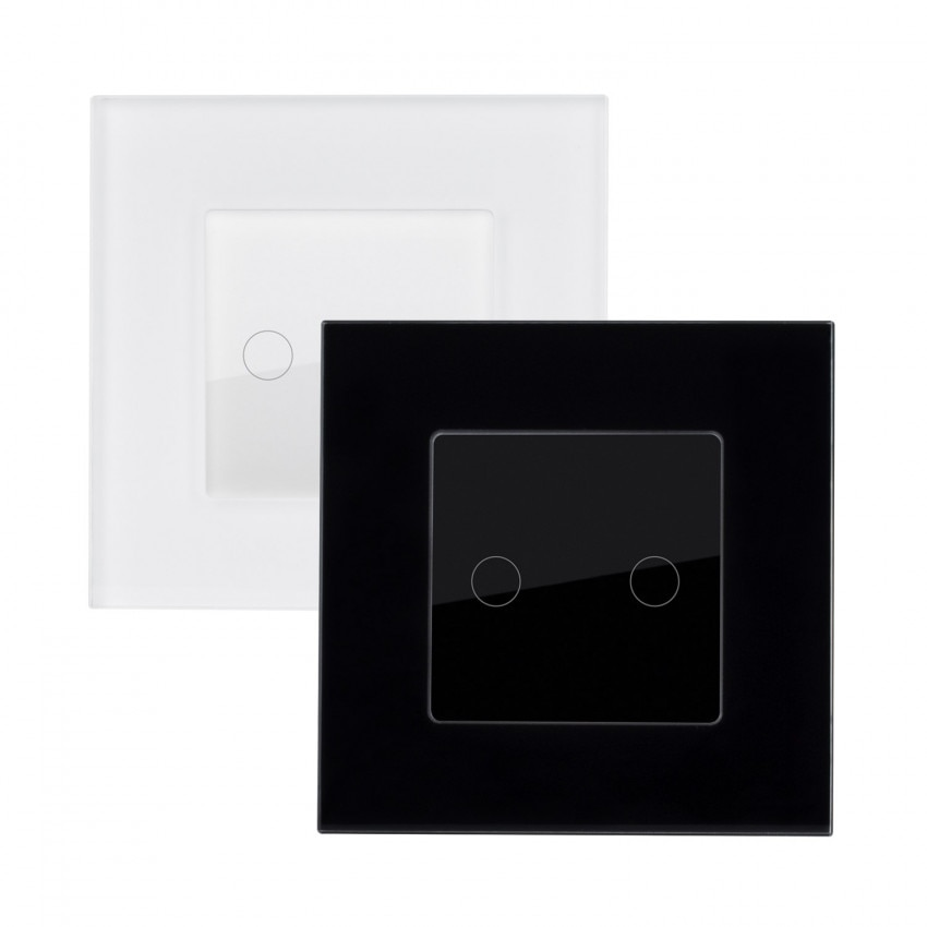 Interruptor Táctil Doble con Marco Cristal Modern