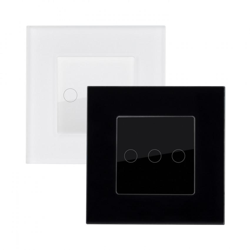 Interruptor Táctil Triple con Marco Cristal Modern