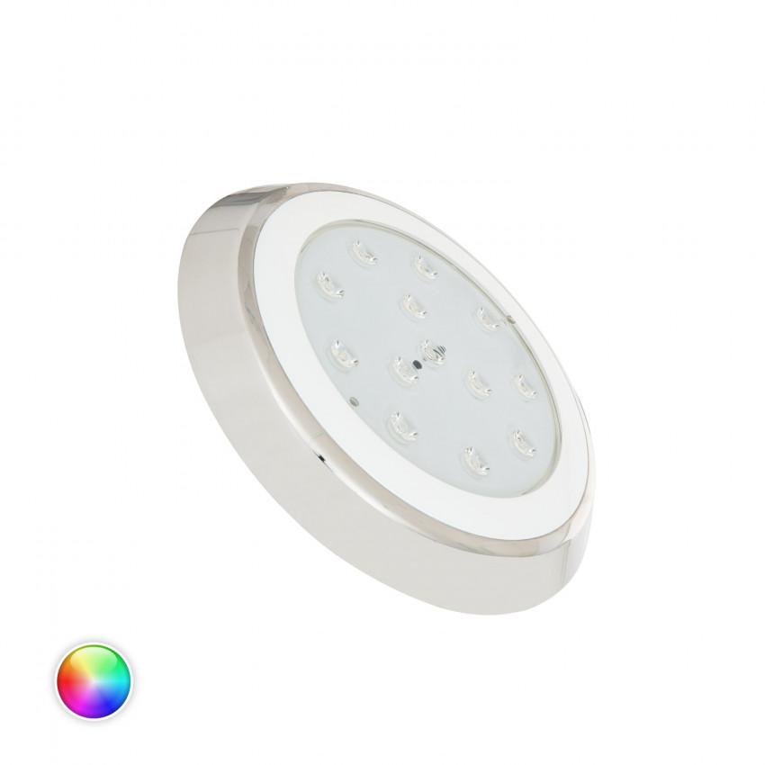 Foco Piscina LED RGBW Superfície 12V DC Aço Inoxidável 24W IP68