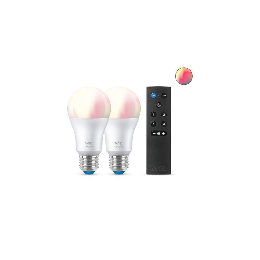 Pack 2 Bombillas LED Smart WiFi + Bluetooth E27 A60 RGB+CCT Regulable WIZ 8W con Mando Smart WiFi WIZ Wizmote