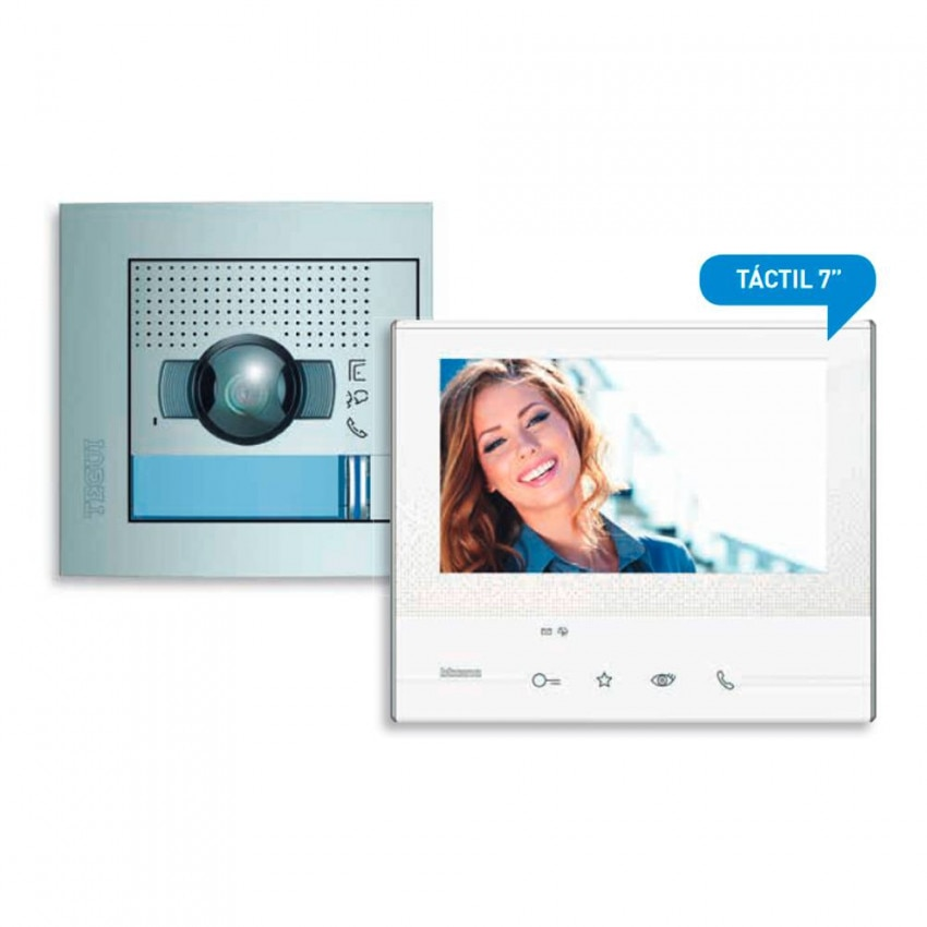 Kit Videoportero 1 Vivienda 2 Hilos con Placa SFERA NEW y Monitor CLASSE 300 V13E TEGUI 376161