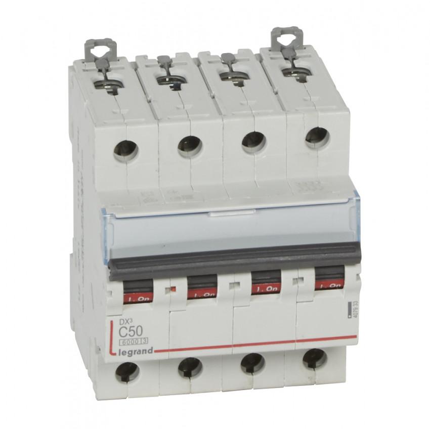 Interruptor Automático Magnetotérmico DX3 Terciario 4P Curva C 6/10kA 50-63 A LEGRAND 407933