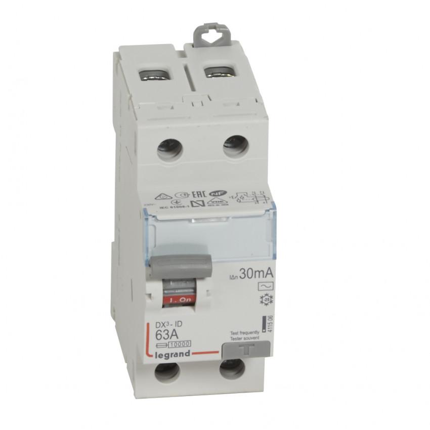 Interruptor Diferencial DX3 Terciario 2P 30mA Tipo AC 63 A LEGRAND 411506