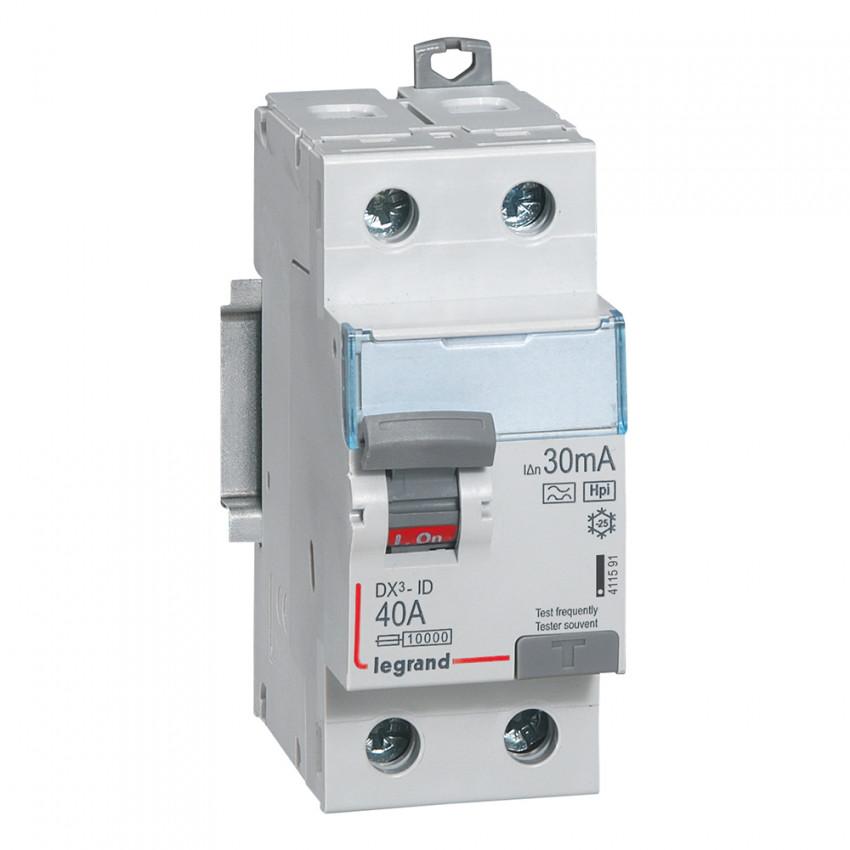 Interruptor Diferencial Superimunizado DX3 Terciário 2P 30mA Tipo Hpi 40 A LEGRAND 411591