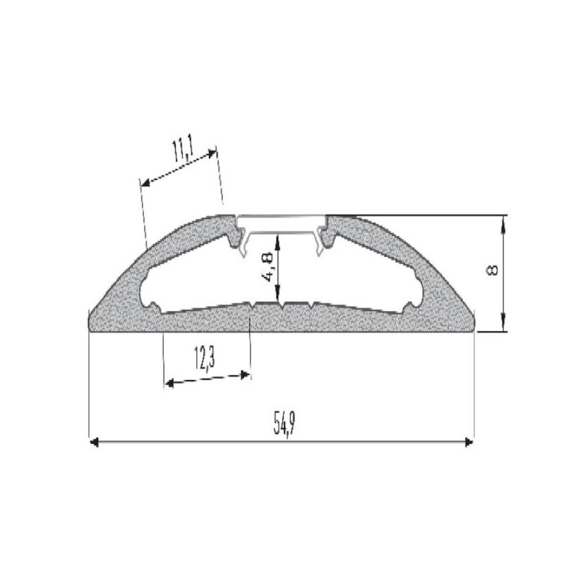 Perfil de Alumínio de Superfície Semicircular 2 m Cinza para Dupla Fita LED Até 12mm