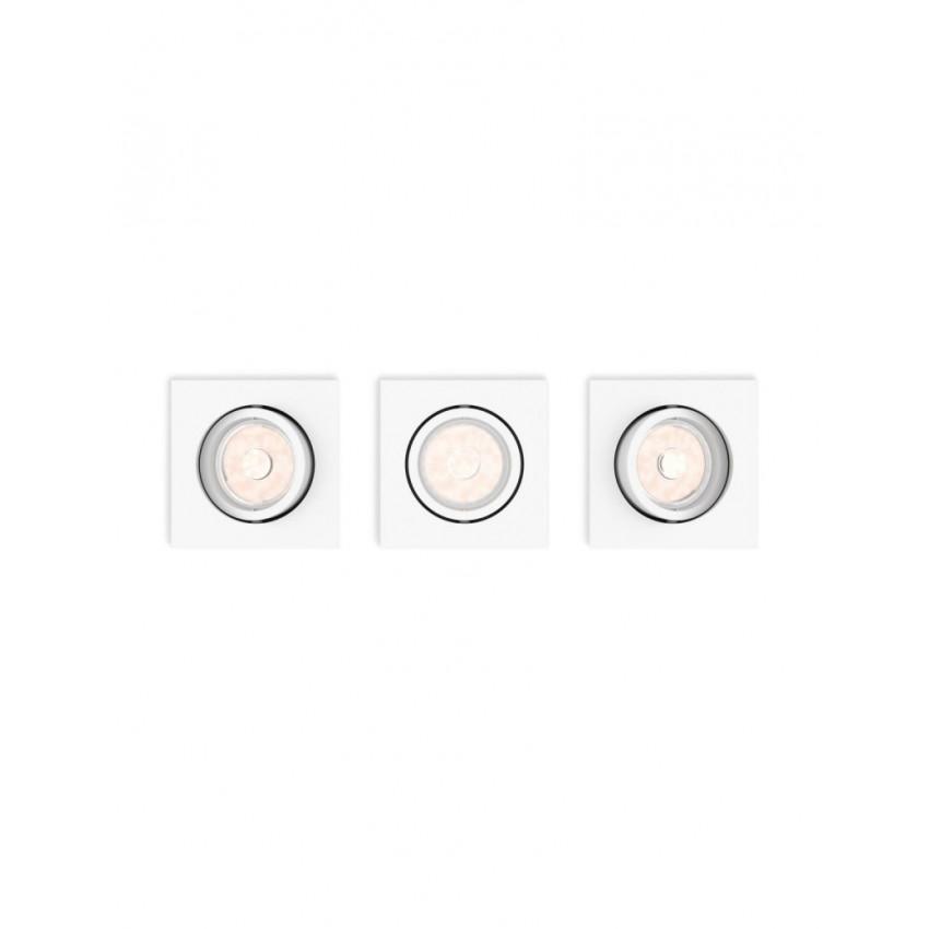 Pack 3 Unidades Foco Downlight LED Cuadrado PHILIPS Enneper Corte 70x70 mm
